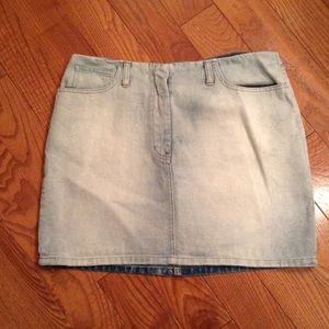 New York & Company acid wash denim mini skirt