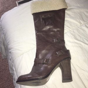 Fergie brown leather boots