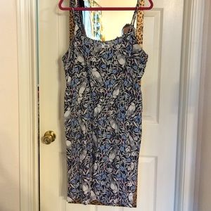 Bird & Floral Vines Print Dress