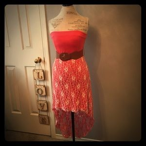 Dresses & Skirts - Pink Lace Hi-Low Strapless Dress w/ Open Back
