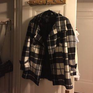 Black And White Checkered F21 Pea Coat