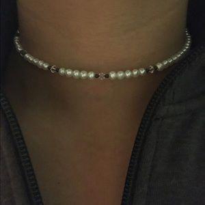Pearl choker! Silpada! With swarovski crystals!