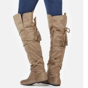 Shoes - new taupe knee high boots