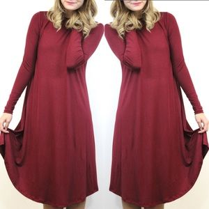 "SALE ""Rosie Posie"" Swing Burgundy/Wine Dress"