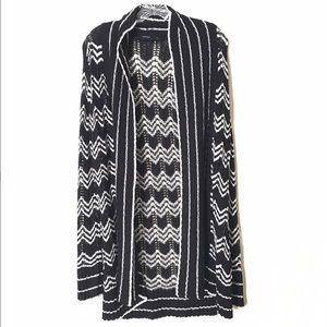Vertigo Paris Sweaters - Vertigo Paris Long Cardigan Sweater, Black & White
