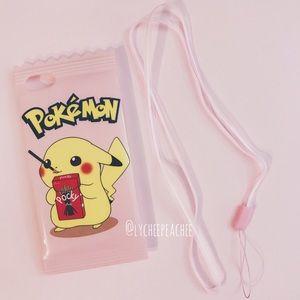 Pokémon Pikachu pocky silicone phone case +lanyard