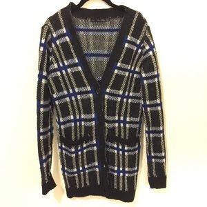 Zara Knit Black & Blue Plaid Sweater Cardigan