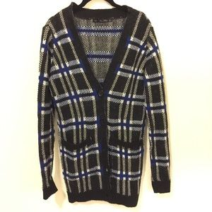 Zara Sweaters - Zara Knit Black & Blue Plaid Sweater Cardigan