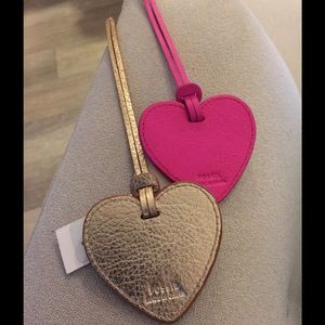 Fossil leather gold purse charm NWT