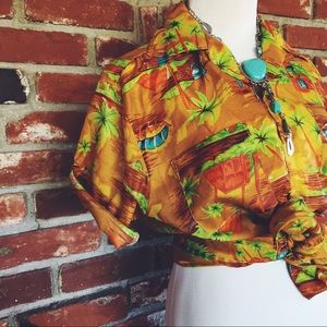 Vtg 70s Hawaiian Button Shirt Medium
