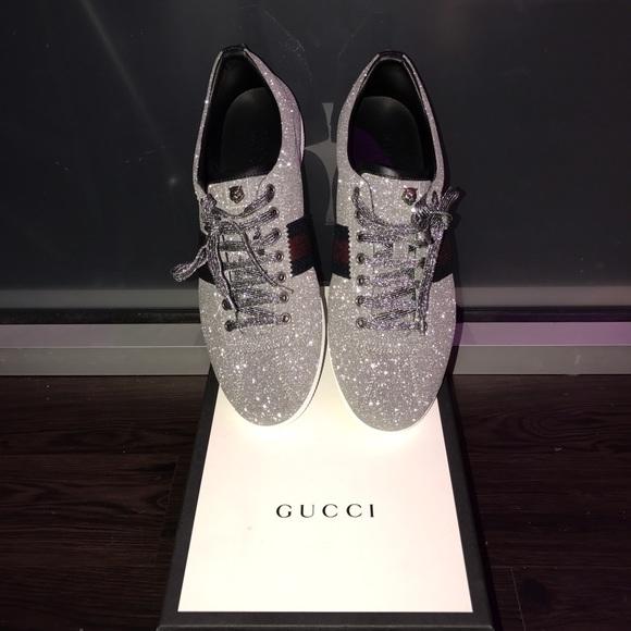 Gucci Shoes   Gucci Silver Low Top Lion