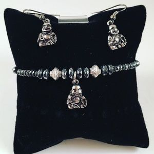 Jewelry - Women earring/bracelet set. Buddha and hematite