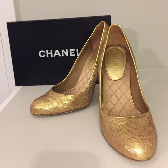 temperament shoes various colors best sale CHANEL gold sequin pumps
