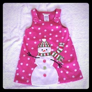 Bonnie Jean Other - Pink Polka Dot Snowman Dress