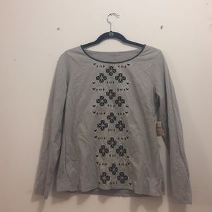 Coldwater Creek Embroidered Grey Long Sleeved Tee