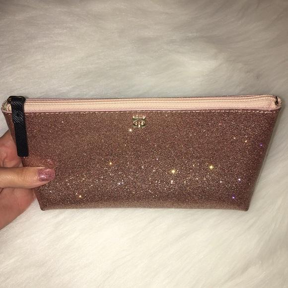 Kate Spade Rose Gold Glitter Bug Cosmetic Bag 22cd35395