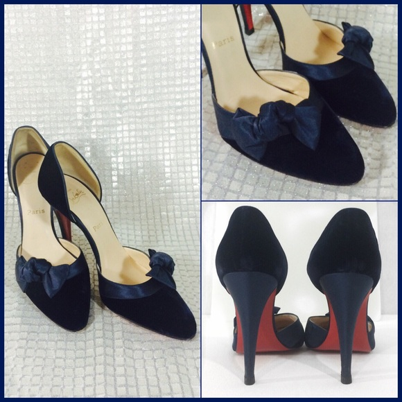 b13b407df800 Christian Louboutin Shoes - CHRISTIAN LOUBOUTIN NAVY VELVET D ORSAY PUMPS  SZ40