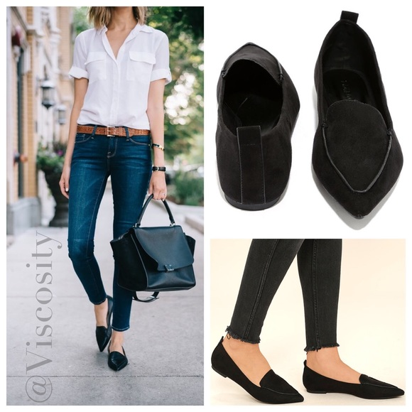 Black Suede Pointed Loafers 1216e1c89