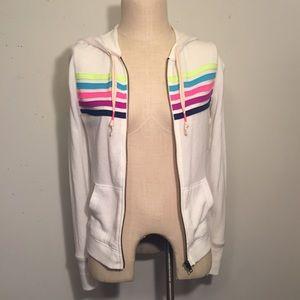 White Rainbow Striped Hoodie