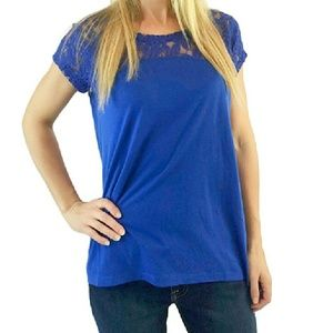 DKNY Jeans Tops - DKNY Cobalt Lace & Knit Top NWT