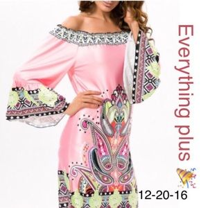 Ethnic Off The Shoulder Printed Dress