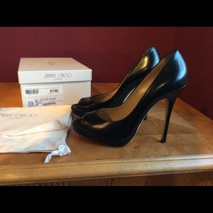 Jimmy choo quiet black leather peep toe heels