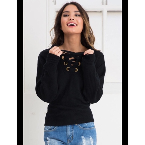 50% off Nasty Gal Sweaters - Black Lace Up Sweater from Digital's ...