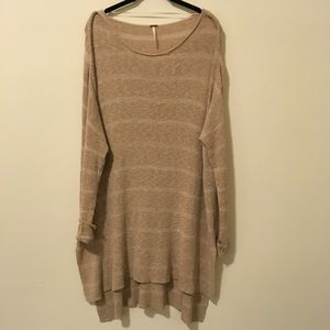 FREE PEOPLE Tan Striped Oversized Sweater Dress