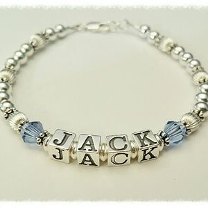 Jewelry - Sterling Silver Beaded Name Bracelet Personalized