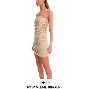 Blue & Cream Dresses & Skirts - Nude Dress