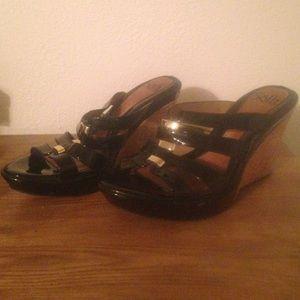 Sofft black wedge sandals