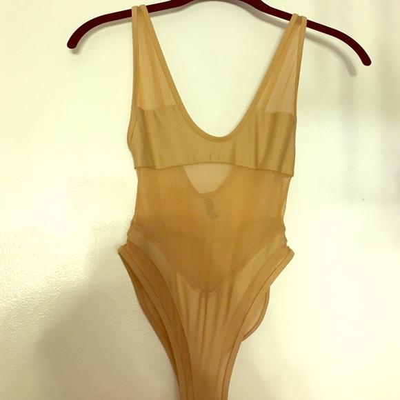 db0f9e0668 Matte Brand tan mesh bodysuit   swimsuit XS