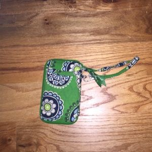 Vera Bradley All in One Wristlet in Cupcake Green