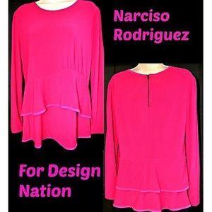 Narciso Rodriguez Tops - Narciso Rodriguez pink peplum top xl nwt