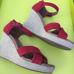 Toms Canvas Wedge Sandals