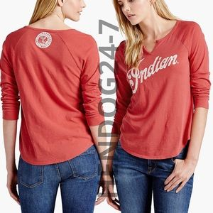 LUCKY BRAND INDIAN MOTO DISTRESSED LOGO WOMENS TEE