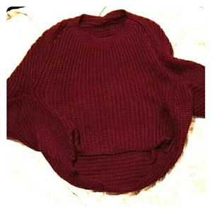 Sweaters - Burgundy bat wing sweater