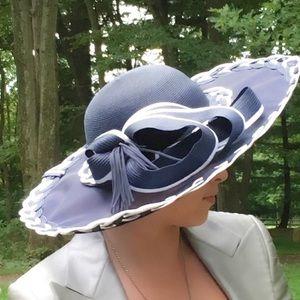 Navy Blue & White Custom Made Hat