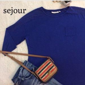 Sejour Tops - Sejour Baseball T-Shirt w/ Fishnet shoulder detail