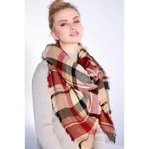 Accessories - New Arrival- Plaid Blanket Scarf