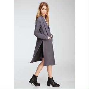 NWOT grey side slit long duster coat