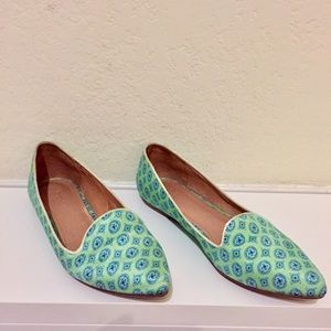 Joie Green + Blue Print Slip-On Flats