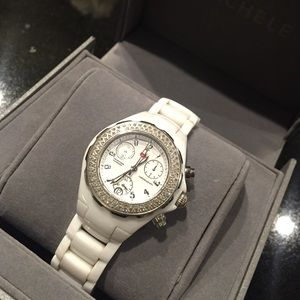 michele Accessories - Michele white ceramic Tahitian diamond watch