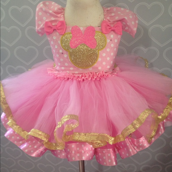 Dresses Pink And Gold Minnie Mouse Dress Poshmark