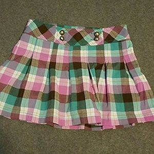 Cute girls pink and teal plaid skirt sz 10/12