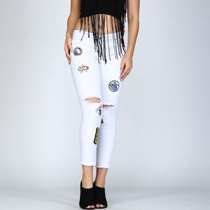 Distressed Patched Skinnys