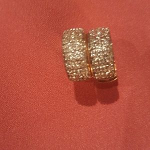 Jewelry - 14 K Gold and Pave-Diamond Hoop Earrings