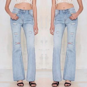 NWT nasty gal bell bottom distressed festival