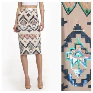 EXPRESS Aztec Sequin Embellished Midi Skirt