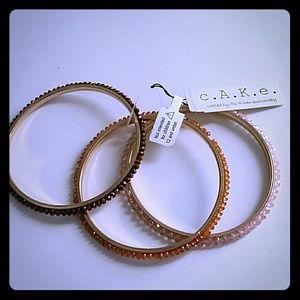 Cake Jewelry - Cake bangle bracelets set of 3 new bling